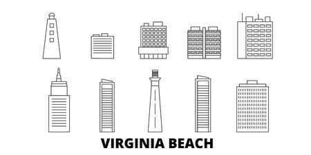 United States, Virginia Beach line travel skyline set. United States, Virginia Beach outline city vector panorama, illustration, travel sights, landmarks, streets. Illustration