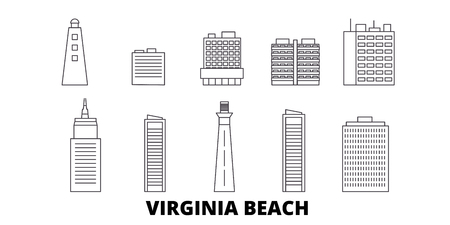 United States, Virginia Beach line travel skyline set. United States, Virginia Beach outline city vector panorama, illustration, travel sights, landmarks, streets. Ilustrace