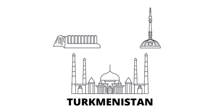Turkmenistan line travel skyline set. Turkmenistan outline city vector panorama, illustration, travel sights, landmarks, streets.