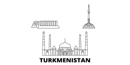 Turkmenistan line travel skyline set. Turkmenistan outline city vector panorama, illustration, travel sights, landmarks, streets. Stock Vector - 123897215