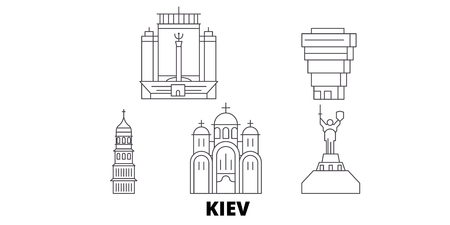 Ukraine, Kiev line travel skyline set. Ukraine, Kiev outline city vector panorama, illustration, travel sights, landmarks, streets.