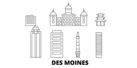United States, Des Moines line travel skyline set. United States, Des Moines outline city vector panorama, illustration, travel sights, landmarks, streets.