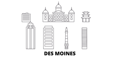United States, Des Moines line travel skyline set. United States, Des Moines outline city vector panorama, illustration, travel sights, landmarks, streets.