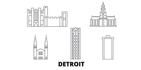 United States, Detroit line travel skyline set. United States, Detroit outline city vector panorama, illustration, travel sights, landmarks, streets.