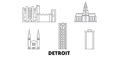 United States, Detroit line travel skyline set. United States, Detroit outline city vector panorama, illustration, travel sights, landmarks, streets.