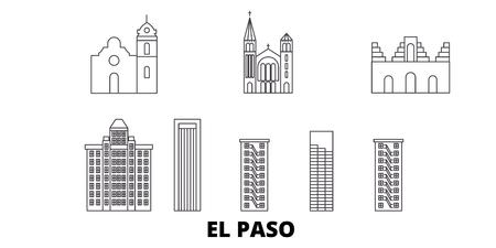 Stany Zjednoczone, zestaw panoramę podróży linii El Paso. Stany Zjednoczone, El Paso zarys panorama miasta wektor, ilustracja, zabytki podróży, zabytki, ulice.
