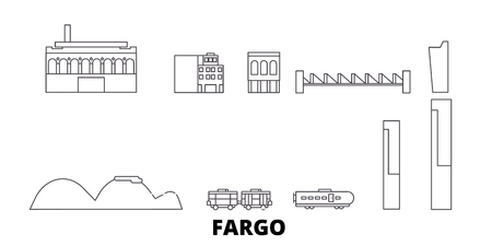 United States, Fargo line travel skyline set. United States, Fargo outline city vector panorama, illustration, travel sights, landmarks, streets. Illustration