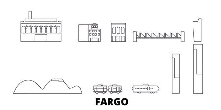 United States, Fargo line travel skyline set. United States, Fargo outline city vector panorama, illustration, travel sights, landmarks, streets. 向量圖像