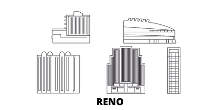 United States, Reno line travel skyline set. United States, Reno outline city vector panorama, illustration, travel sights, landmarks, streets. 일러스트