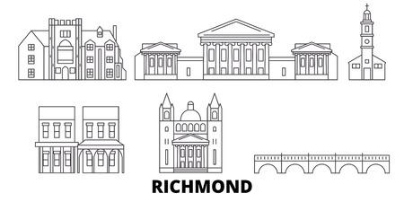 États-Unis, ensemble d'horizon de voyage en ligne Richmond. États-Unis, panorama de vecteur de ville de contour de Richmond, illustration, vues de voyage, points de repère, rues. Vecteurs