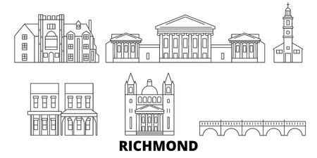 United States, Richmond line travel skyline set. United States, Richmond outline city vector panorama, illustration, travel sights, landmarks, streets. 向量圖像