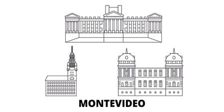 Uruguay, Montevideo, la línea del horizonte de viaje. Uruguay, Montevideo esquema panorama vectorial de la ciudad, ilustración, lugares turísticos, monumentos, calles.