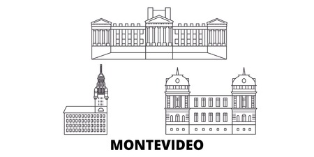 Uruguay , Montevideo line travel skyline set. Uruguay , Montevideo outline city vector panorama, illustration, travel sights, landmarks, streets.