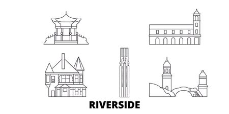 United States, Riverside line travel skyline set. United States, Riverside outline city vector panorama, illustration, travel sights, landmarks, streets.  イラスト・ベクター素材