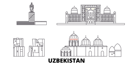 Uzbekistan line travel skyline set. Uzbekistan outline city vector panorama, illustration, travel sights, landmarks, streets.
