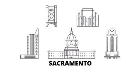 États-Unis, ensemble d'horizon de voyage de ligne de Sacramento. États-Unis, Sacramento contour vectoriel panorama de la ville, illustration, sites touristiques, monuments, rues. Vecteurs