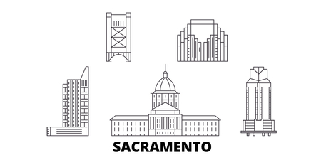 United States, Sacramento line travel skyline set. United States, Sacramento outline city vector panorama, illustration, travel sights, landmarks, streets. Vettoriali