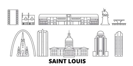 United States, Saint Louis line travel skyline set. United States, Saint Louis outline city vector panorama, illustration, travel sights, landmarks, streets.