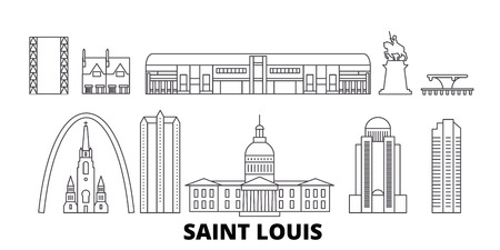 United States, Saint Louis line travel skyline set. United States, Saint Louis outline city vector panorama, illustration, travel sights, landmarks, streets.