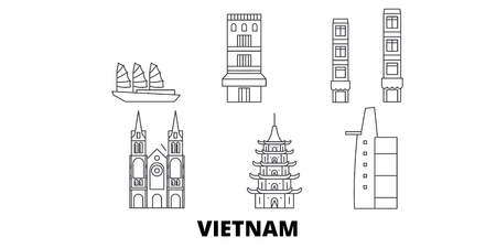 Vietnam line travel skyline set. Vietnam outline city vector panorama, illustration, travel sights, landmarks, streets. Çizim