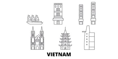 Vietnam-Linie reisen Skyline-Set. Vietnam umreißt Stadtvektorpanorama, Illustration, Reiseanblicke, Sehenswürdigkeiten, Straßen.