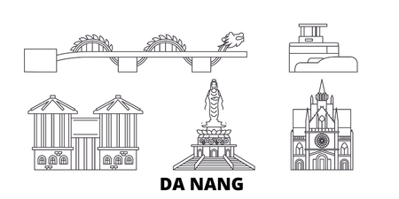 Vietnam, Da Nang line travel skyline set. Vietnam, Da Nang outline city vector panorama, illustration, travel sights, landmarks, streets.