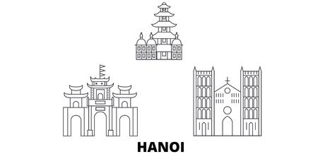 ベトナム、ハノイ線トラベルスカイラインセット。ベトナム、ハノイのアウトライン都市ベクトルパノラマ、イラスト、旅行の観光スポット、ラン
