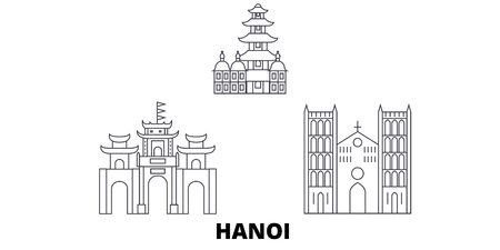 Vietnam, Hanoi line travel skyline set. Vietnam, Hanoi outline city vector panorama, illustration, travel sights, landmarks, streets. 일러스트