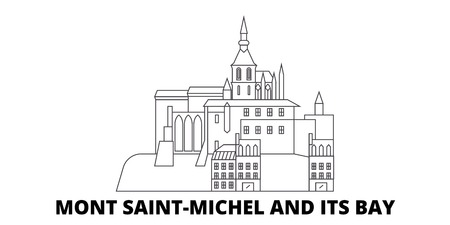 France, Mont Saint Michel And Its Bay Landmark line travel skyline set. France, Mont Saint Michel And Its Bay Landmark outline city vector panorama, illustration, travel sights, landmarks, streets.