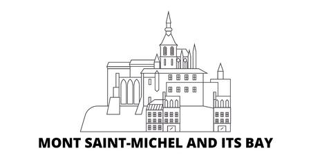 France, Mont Saint Michel And Its Bay Landmark line travel skyline set. France, Mont Saint Michel And Its Bay Landmark outline city vector panorama, illustration, travel sights, landmarks, streets.