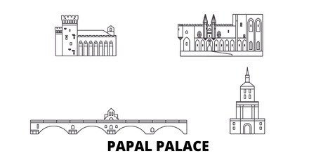 France,Papal Palace, Episcopal Ensemble Avignon Bridge  line travel skyline set. France,Papal Palace, Episcopal Ensemble Avignon Bridge  outline city vector panorama, illustration, travel sights, land