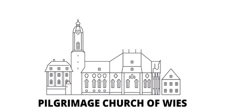 Germany, Steingaden, Pilgrimage Church Of Wies line travel skyline set. Germany, Steingaden, Pilgrimage Church Of Wies outline city vector panorama, illustration, travel sights, landmarks, streets.