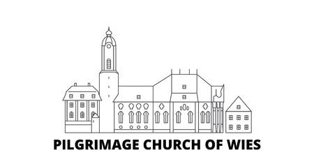 Germany, Steingaden, Pilgrimage Church Of Wies line travel skyline set. Germany, Steingaden, Pilgrimage Church Of Wies outline city vector panorama, illustration, travel sights, landmarks, streets.