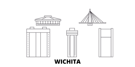 United States, Wichita line travel skyline set. United States, Wichita outline city vector panorama, illustration, travel sights, landmarks, streets. Stock Vector - 123897220