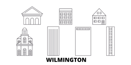 United States, Wilmington line travel skyline set. United States, Wilmington outline city vector panorama, illustration, travel sights, landmarks, streets.