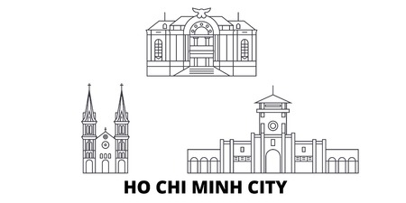 Vietnam, Ho Chi Minh City line travel skyline set. Vietnam, Ho Chi Minh City outline city vector panorama, illustration, travel sights, landmarks, streets.