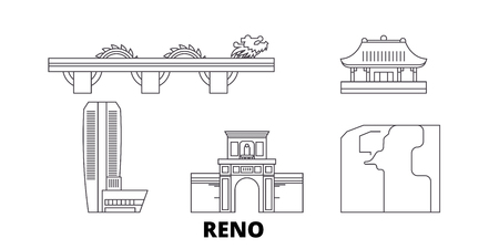 Vietnam, Reno, Danang line travel skyline set. Vietnam, Reno, Danang outline city vector panorama, illustration, travel sights, landmarks, streets. Illustration