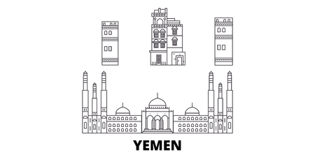 Yemen, Sanaa line travel skyline set. Yemen, Sanaa outline city vector panorama, illustration, travel sights, landmarks, streets.