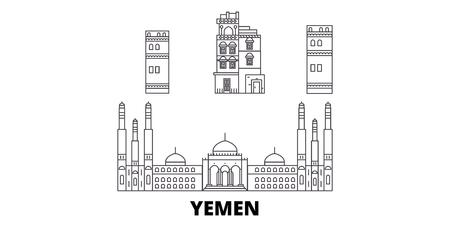 Yemen, Sanaa line travel skyline set. Yemen, Sanaa outline city vector panorama, illustration, travel sights, landmarks, streets.