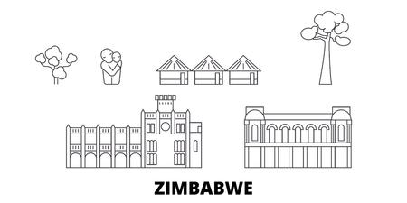 Zimbabwe line travel skyline set. Zimbabwe outline city vector panorama, illustration, travel sights, landmarks, streets. Illustration