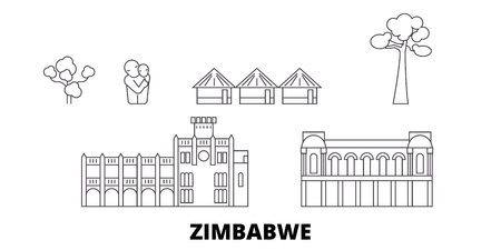 Zimbabwe line travel skyline set. Zimbabwe outline city vector panorama, illustration, travel sights, landmarks, streets. Illusztráció