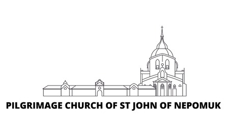 Czech Republic, Pilgrimage Church Of St John Of Nepomuk line travel skyline set. Czech Republic, Pilgrimage Church Of St John Of Nepomuk outline city vector panorama, illustration, travel sights, landmarks, streets. Illusztráció