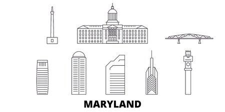 Vereinigte Staaten, Maryland Linie Reisen Skyline Set. Vereinigte Staaten, Maryland umreißen Stadtvektorpanorama, Illustration, Reiseanblicke, Sehenswürdigkeiten, Straßen. Vektorgrafik