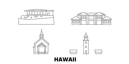 United States, Maui line travel skyline set. United States, Maui outline city vector panorama, illustration, travel sights, landmarks, streets.  イラスト・ベクター素材