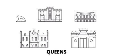 United States, New York Queens line travel skyline set. United States, New York Queens outline city vector panorama, illustration, travel sights, landmarks, streets.
