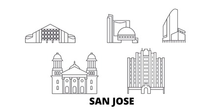 United States, San Jose line travel skyline set. United States, San Jose outline city vector panorama, illustration, travel sights, landmarks, streets. 일러스트