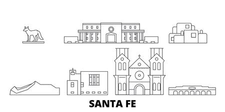 United States, Santa Fe line travel skyline set. United States, Santa Fe outline city vector panorama, illustration, travel sights, landmarks, streets. Illustration
