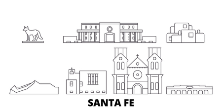 United States, Santa Fe line travel skyline set. United States, Santa Fe outline city vector panorama, illustration, travel sights, landmarks, streets. Ilustração