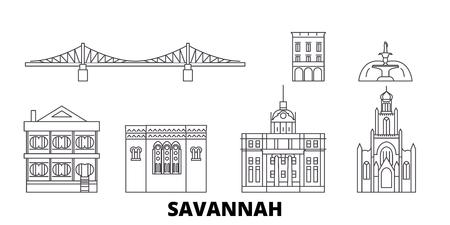 États-Unis, ensemble d'horizon de voyage en ligne Savannah. États-Unis, Savannah contour vectoriel panorama de la ville, illustration, sites touristiques, monuments, rues.