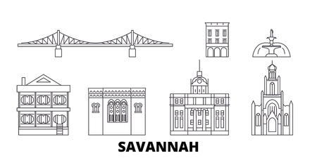 United States, Savannah line travel skyline set. United States, Savannah outline city vector panorama, illustration, travel sights, landmarks, streets.